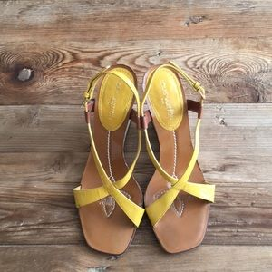 Louis Vuitton Yellow & white wedge sandals.